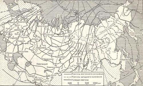 Схематическая карта магнитного слонения на территории СССР
