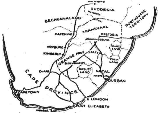 Ось тут карта Південної Африки. Якщо уважно приглянешся, знайдеш Мейфкінг і багато інших місць, згаданих у цій книжці