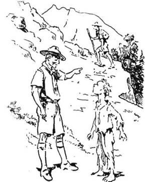 Виховник вказує хлопцеві спосіб, як стати пластуном і помагає йому на шляху пластування