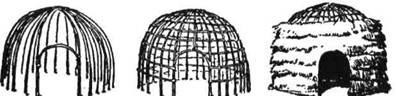 Зулуси починають будувати хату так, що встромлюють довгі тички сторч у землю по обводі кола. Вершки зв'язують потім разом і роблять скелет