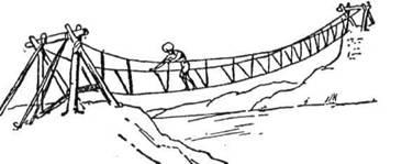 В Гімалаях тубільці роблять міст з трьох линв