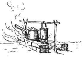 Вогнище можна зробити з двох рядів дернини, цегол, грубих колод чи каміння. Примісти або повісь свої горшки над ними