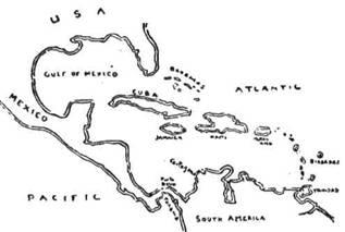 Карта Середньої Америки і Карибського моря