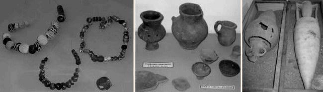 Экспонаты Музея древностей Северо-Западного Крыма: бусы, скифская лепная посуда, греческие амфоры