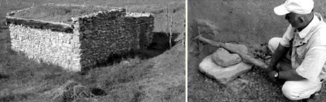 Слева: объект экспериментальной археологии - реплика скифской усадьбы; справа: реконструкция скифского жернова