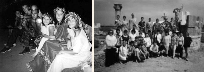 Слева: скифский праздник; справа: участники античного спектакля