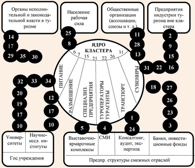 Модель структуры горизонтальных связей субъектов туристского кластера