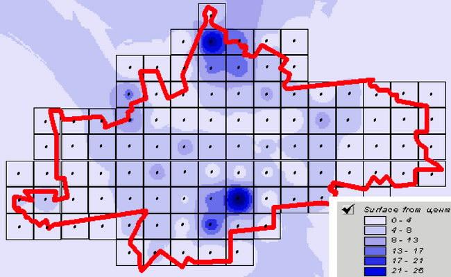 Представление электронной цифровой карты зонирования территории Володарского района по туристско-рекреационной привлекательности на основе ее заливки цветом
