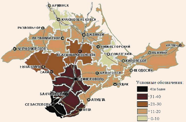 Дифференциация административных районов АР Крым по уровню инвестиционной привлекательности