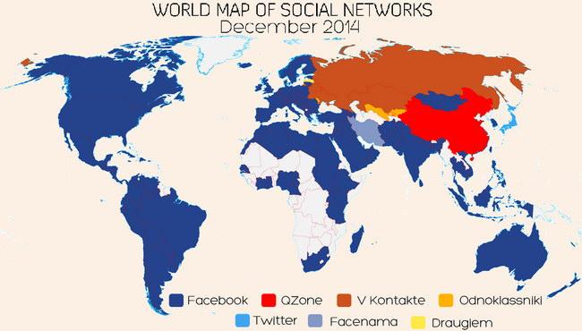 мировая карта социальных сетей