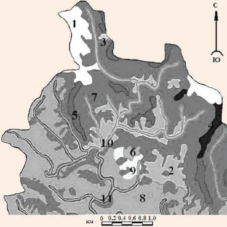 Фрагмент ландшафтной карты бассейна р. Бащелак