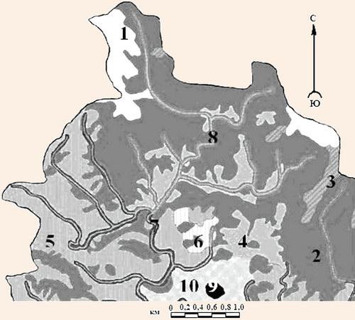 Фрагмент карты пейзажных комплексов бассейна р. Бащелак