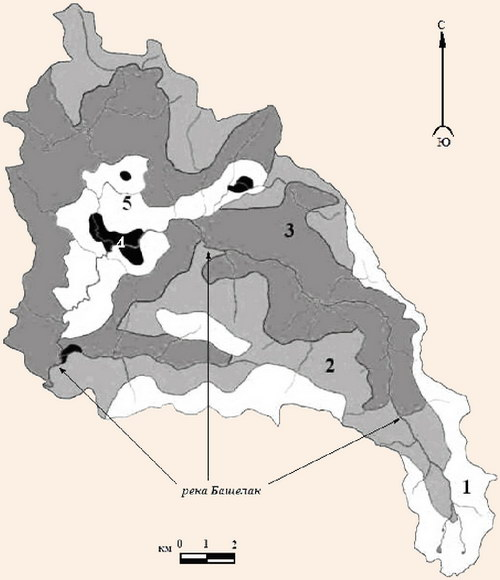 Карта ландшафтно-рекреационного зонирования территории бассейна р. Бащелак