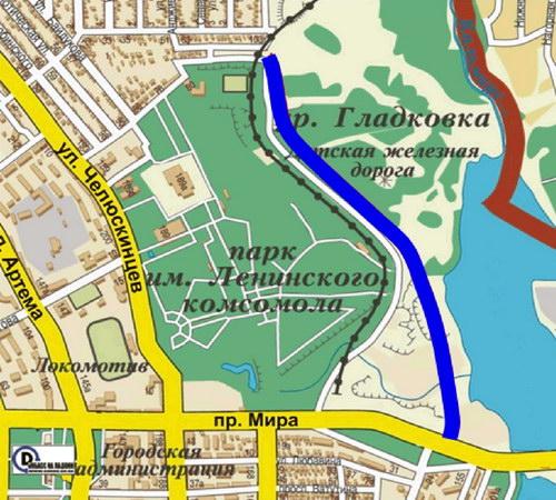 Географическое положение тематического парка «Донбасс многонациональный» в районе строящегося стадиона «Донбасс-Арена» и подъездной автомобильной дороги к нему