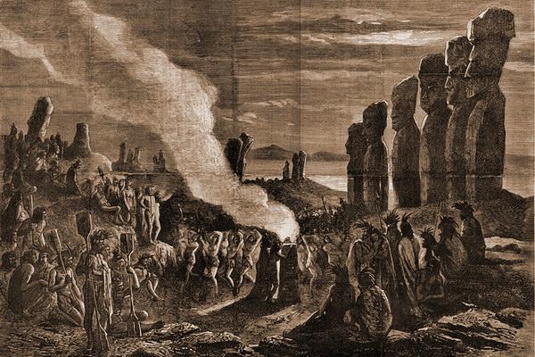 Таким увидели осторв Пасхи первые посетившие его европейцы