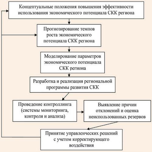 Процесс реализации концептуальных положений по повышению эффективности использования экономического потенциала СКК региона