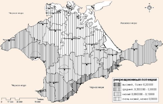 Типы территорий Крыма по уровню обеспеченности рекреационным потенциалом