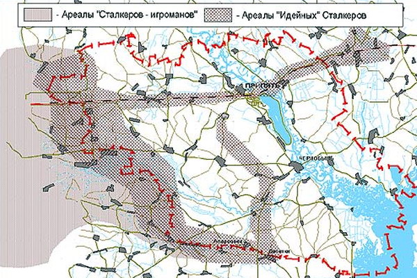 Карта маршрутов передвижений старкеров
