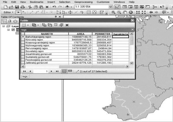 Пример заполнения атрибутивной информации в програмне ArcGis 1