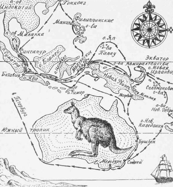 Схема путешествий Миклухо-Маклая