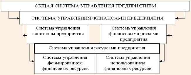 Место системы управления финансовыми ресурсами в общей иерархической системе управления предприятием