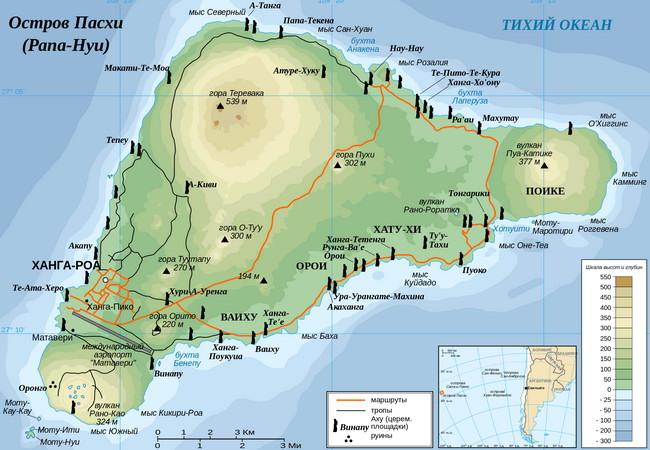 Карта острова Пасхи (или Рапа-Нуи), каким он предстаёт перед современными исследователями