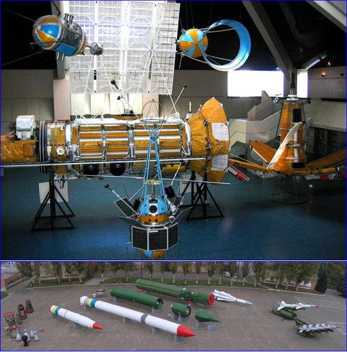 Експозиція виставкового залу та панорама вуличного комплексу Національного центру аерокосмічної освіти молоді України