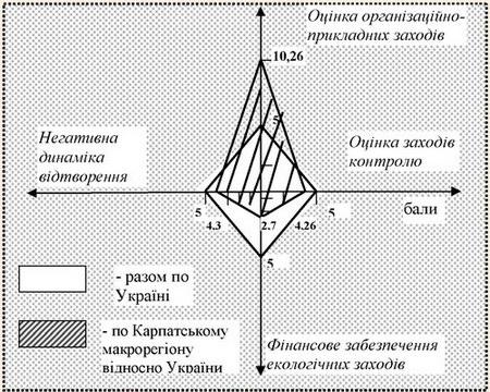Графічне зображення оцінки ефективності ВПРР Карпатського макрорегіону у розрахунку на одну особу за бальною системою