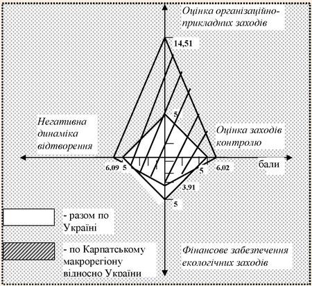 Графічне зображення оцінки ефективності ВПРР Карпатського макрорегіону у розрахунку на 1 кв.км. за бальною системою