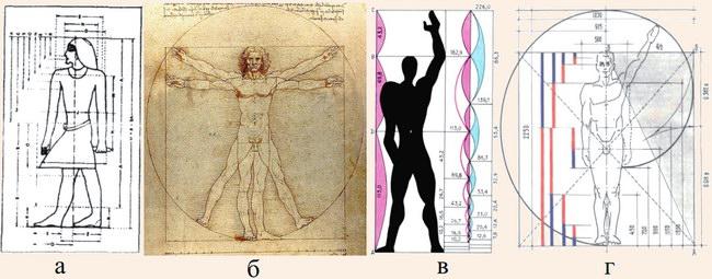 Системи пропорцій людського тіла різних епох та авторів