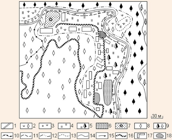 Фрагмент картосхеми сучасних унікальних рекреаційних ландшафтів натурної ділянки Над Стрипою і Лісовий