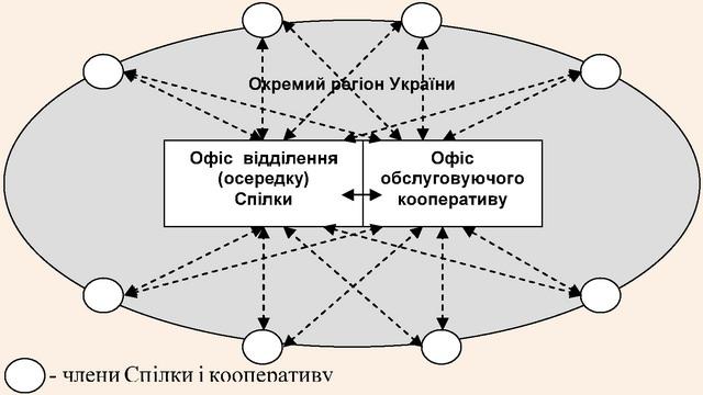 Схема взаємозв'язків між Спілкою, кооперативом і їх членами у межах окремого регіону (області, району) України