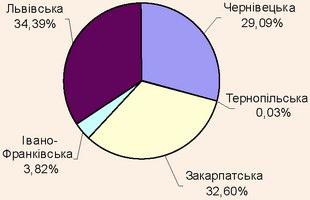 Структура кількості іноземних туристів в областях Карпатського регіону, 2007 рік