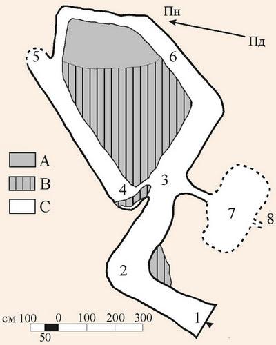 Картосхема печери Княгиня