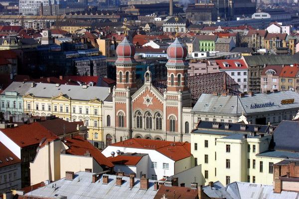 вид на місто Пльзень із дзвіниці собору Святого Варфоломея